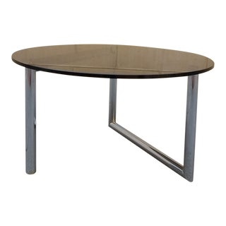 Smoke Glass & Chrome Tube Round Table