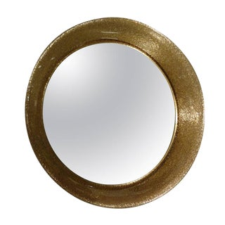 Mazzega Murano Glass Mid-Century Lit Round Wall Mirror, Italy circa 1970