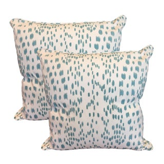 Aqua & White Dotted Pillows - A Pair