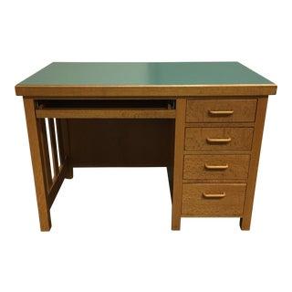 Forest Green Mica Topped Tiger Oak Desk