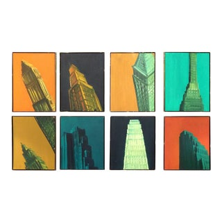 Contemporary Manhattan Skyscrapers Paintings - Series of Eight