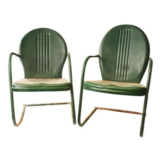 Vintage Mid Century Metal Dark Green Patio Chairs - A Pair