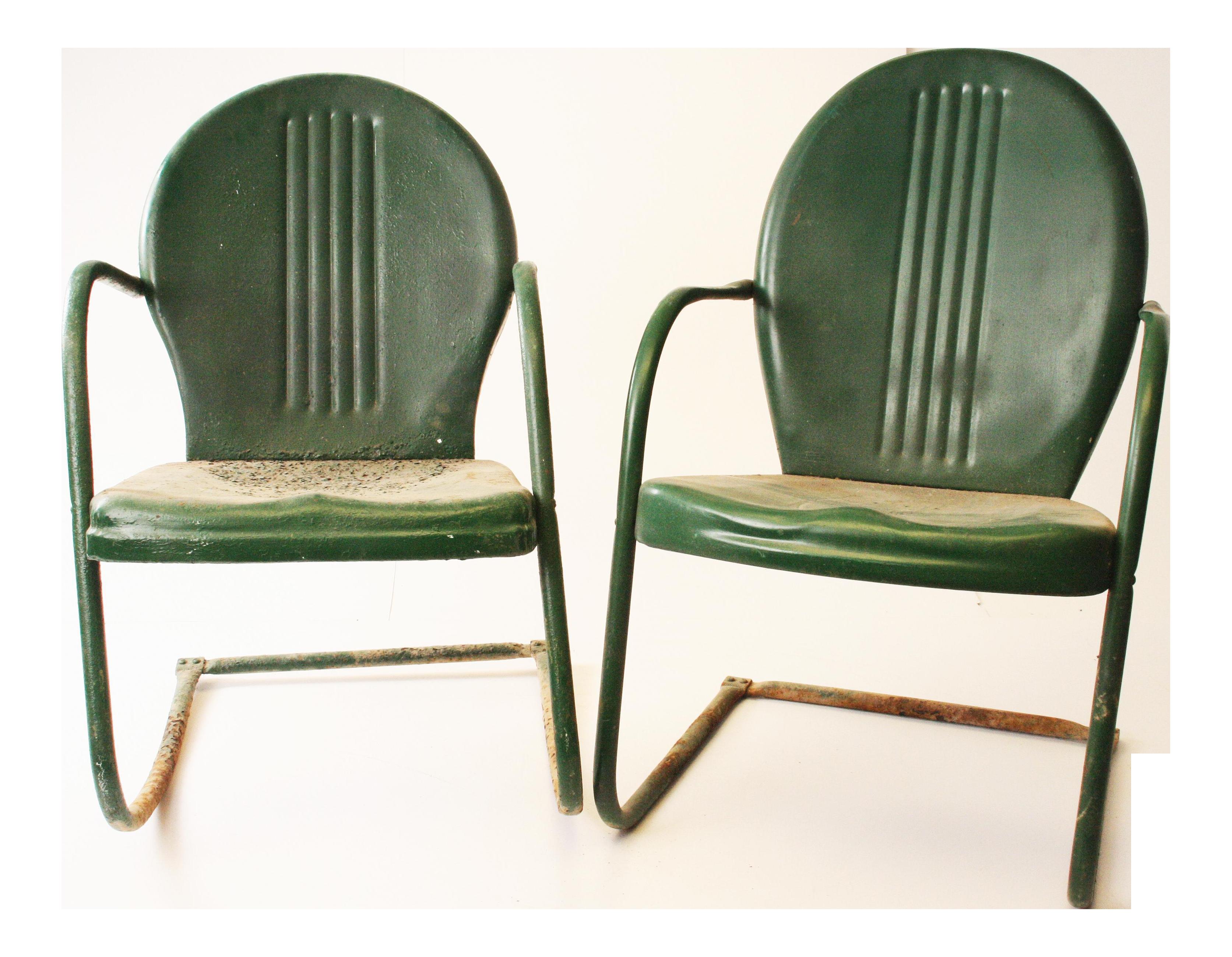 Vintage Mid Century Metal Dark Green Patio Chairs   A Pair