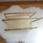 Image of Mid-Century Brass & Bamboo Magazine Rack