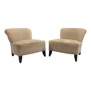 Taupe Armless Slipper Chairs - A Pair