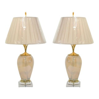 Sophisticated Pair of Custom-Made Murano Lamps with Silk Box Pleat Shades