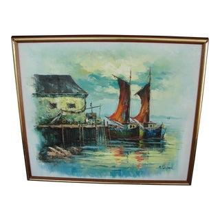 Vintage Mid Century Modern Harbor Oil Painting