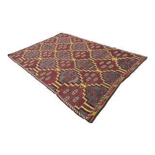 "Anatolian Turkish Kilim Rug - 6'3"" X 9'"