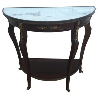 French Ormolu Marble Demilune Marble Top