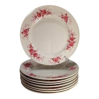 Vintage Porcelain Pink Peony Dessert Plates - Set of 8