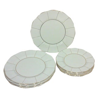 White English Bone China Lotus Plates - Set of 12