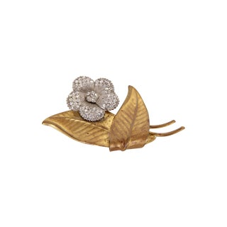 Rhinestone Flower & Leaf Pin