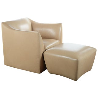 Club Leather Chair With Ottoman -Designer
