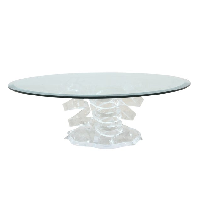 Spiral Glass Lucite Coffee Table Chairish