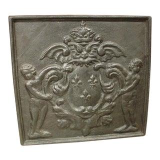 Antique Cast Iron Fireback, France 1800s