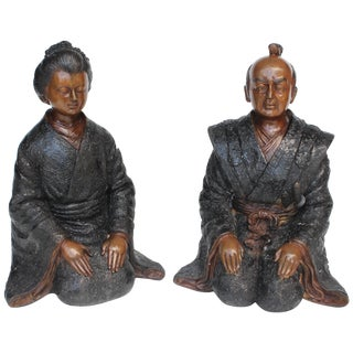 Antique Japanese Bronze Figures of a Man and Woman