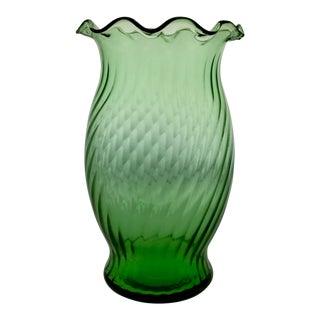 1940s Mid-Century Green Glass Ruffle Vase