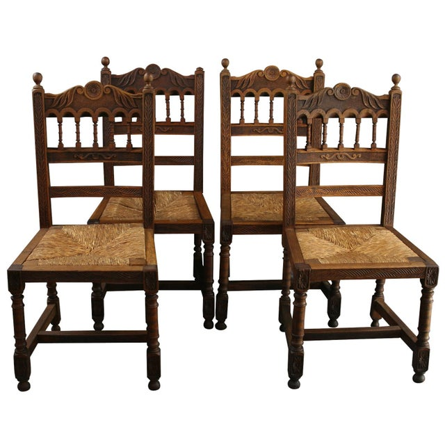 antique brittany style dining chairs carved chairish. Black Bedroom Furniture Sets. Home Design Ideas