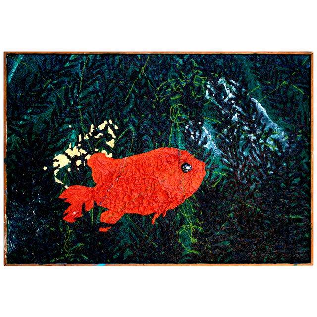 Textured 'Goldfish Waiting' Painting - Image 1 of 2