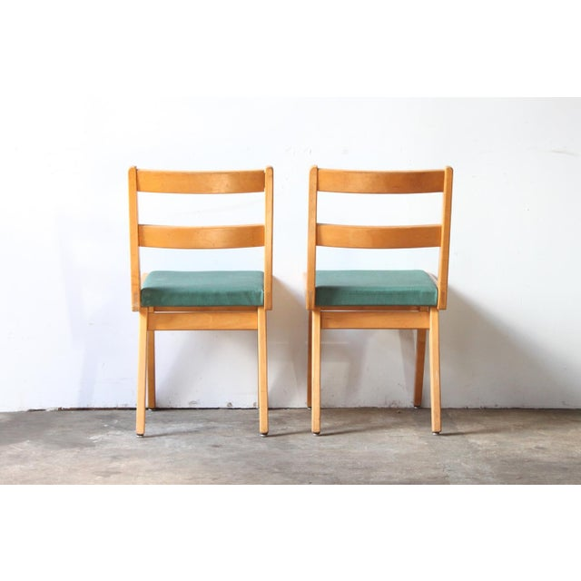 Maple & Turquoise Vinyl Side Chair - Image 4 of 7