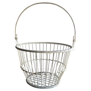 Vintage White Metal and Wire Basket