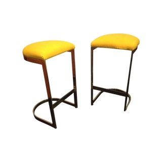 Brass Cantilevered Bar Stools by Milo Baughman