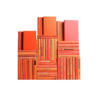 Modern Orange Book Wall - Set of 50