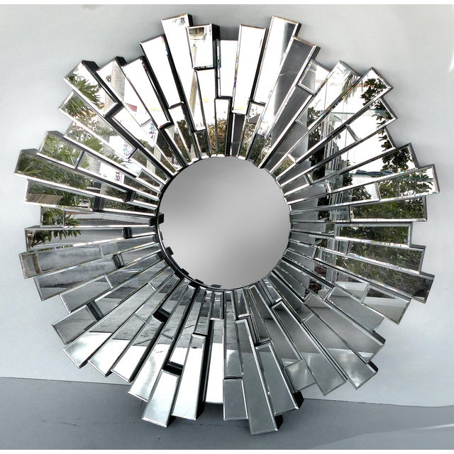 Sculptural Beveled Sunburst Wall Mirror - Image 7 of 7