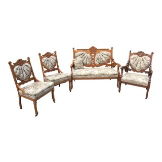Eastlake Victorian Settee, Armchair & Armless Chairs - Set of 4