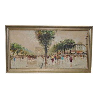 Vintage Parisian Street Scene Painting by Marchand