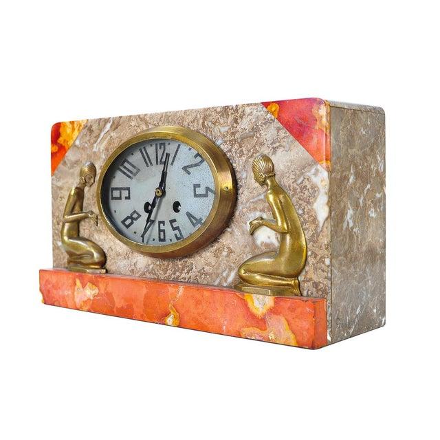 Image of Art Deco Vintage Marble & Bronze Clock C.1930