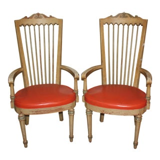 French Provincial High Back Armchairs - a Pair