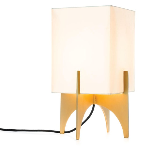 Small Modern Brass Thick Accent Lamp - Image 5 of 5