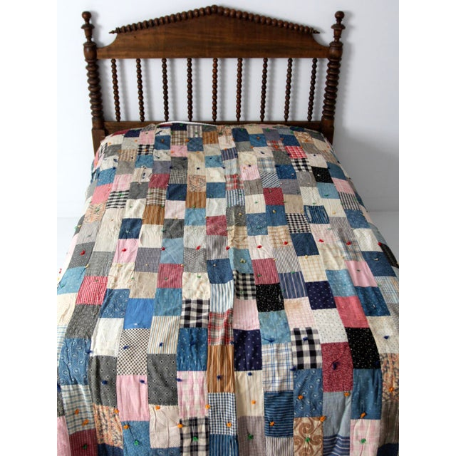 Vintage Hand-Tied Patchwork Quilt - Image 4 of 10