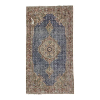 Vintage Small Turkish Oushak Rug - 3′9″ × 6′11″