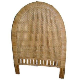Mid-Century Tall Tan Buri Wicker Twin Size Headboard