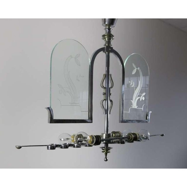 Italian Etched Glass Deco Chandelier - Image 2 of 9