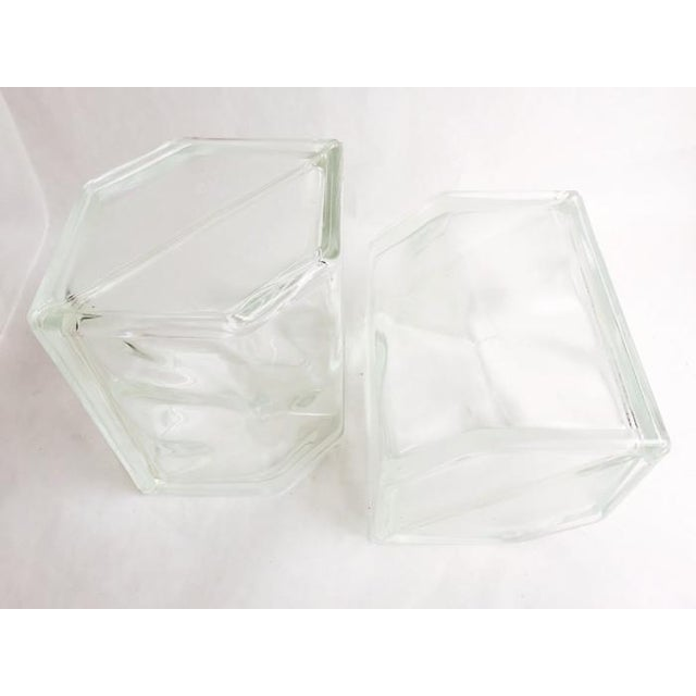 Vintage Glass Block Geometric Bookends - A Pair - Image 5 of 8