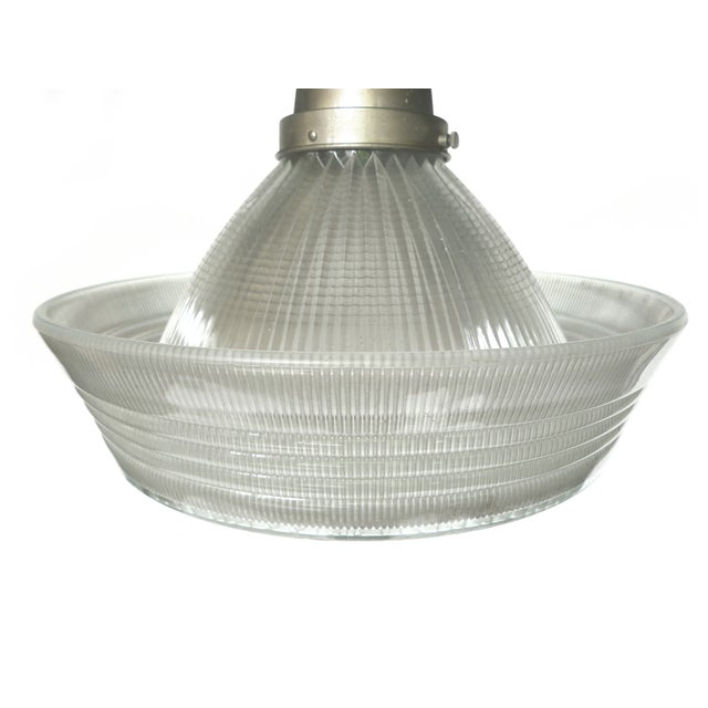 Art Deco Holophane Correctalite Glass Pendant Lamp - Image 3 of 9
