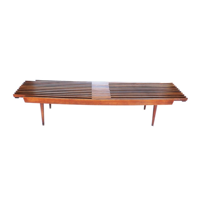 Nelson Herman Miller Style Slatted Wood Bench - Image 2 of 7