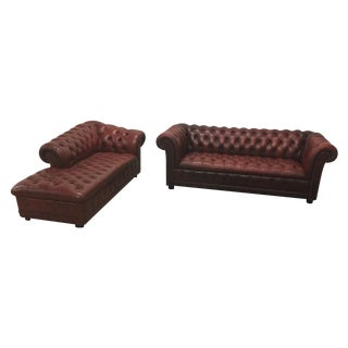 Chesterfield Leather Sofa & Chaise Lounge