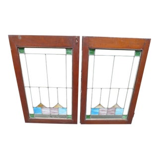 Pair of Arts & Crafts Stained Glass Windows c. 1920