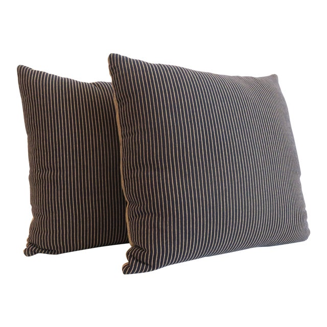 Custom Navy & Tan Stripe Pillows - A Pair - Image 1 of 5
