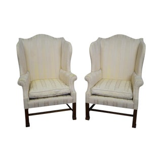 Statton Chippendale Style Wing Chairs - A Pair