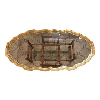 Casa Bique - Baker Style Brass Glass and Wood Tray Coffee Table