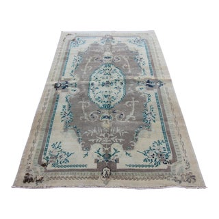 """Mid 20th Century Antique Turkish Tribal Oushak Neutral Hand Knotted Rug - 4'5"""" x 7'4"""""""