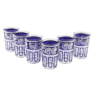 Essaouira Blue & Silver Glasses - Set of 7