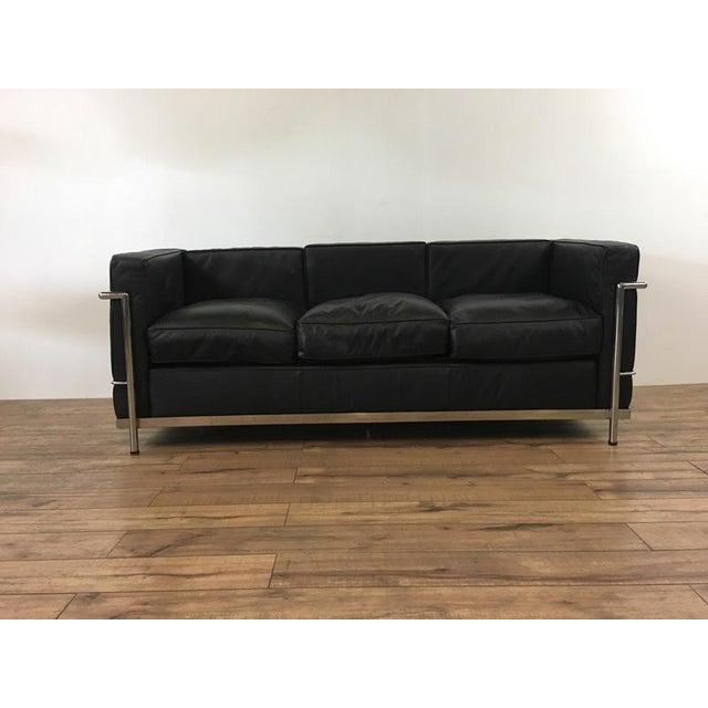 mid century modern style black leather sofa chairish. Black Bedroom Furniture Sets. Home Design Ideas