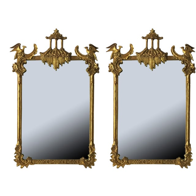 Image of Antique Chinese Chippendale Mirrors - Pair