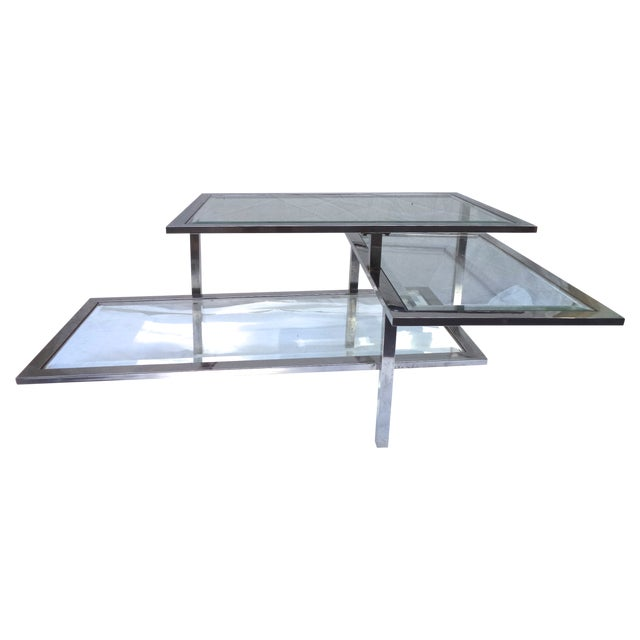 Mid-Century 3-Tiered Chrome Coffee Table - Image 1 of 4